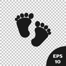 Black Baby Footprints Icon Isolated On Transparent Background. Baby Feet Sign.  Vector Illustration