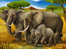 Cartoon Scene With Elephant Fa...