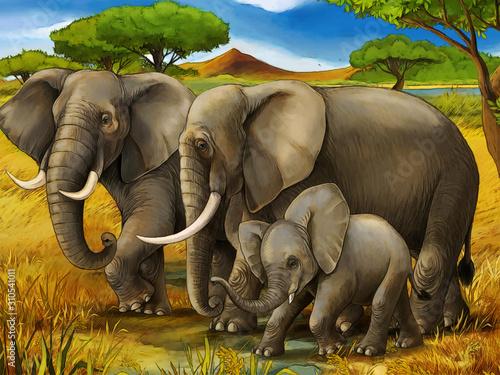 Photo cartoon scene with elephant family safari illustration for children