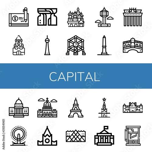Photo capital simple icons set
