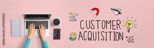 Customer acquisition with person using a laptop computer Canvas Print