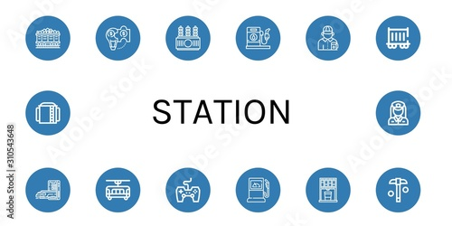 Set of station icons Canvas Print