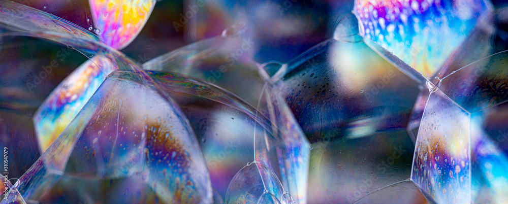 Fototapeta soap bubbles close up in the detail - macro photography