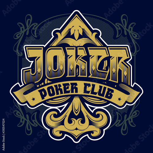 Poker club emblem. Joker lettering Canvas Print