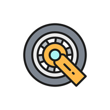 Car Wheel Lock Flat Color Line Icon. Isolated On White Background