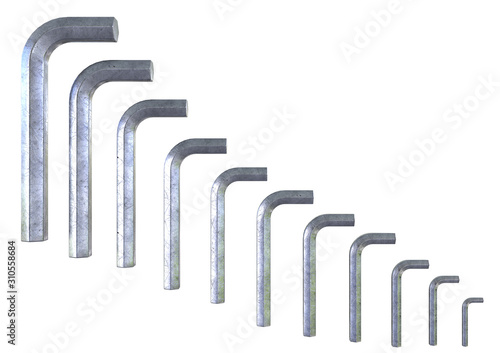 Allen silver wrench set isolated over white background. Wallpaper Mural