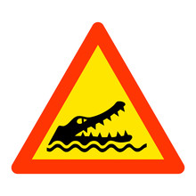 Warning Crocodiles Area Road S...