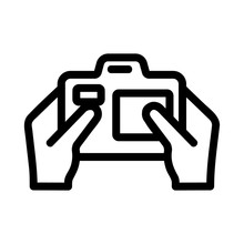 Camera In The Hands Of The Icon Vector. A Thin Line Sign. Isolated Contour Symbol Illustration