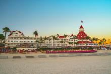 Historic Resort On Coronado Island Victorian Hotel Del Coronado At Sunset. Coronado Island, San Diego
