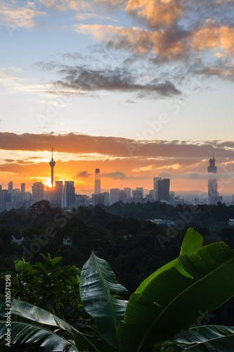 beautiful scenery skyline during sunrise Canvas Print