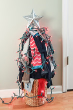 Old Missing Socks Or Laundry Pile Christmas Tree With Lights