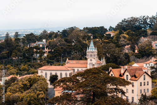 Fototapeta Scenic view to the center of the town Sintra in Portugal with the many old medieval historical buildings