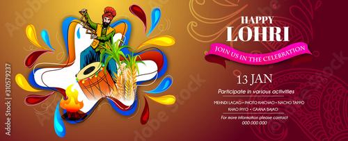 Happy Lohri illustration for Punjabi harvest festival holiday background - Vecto Fototapet