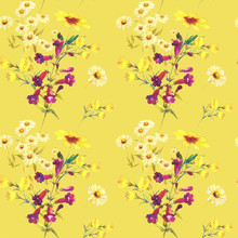 Garden Chamomile, Penstemon, Rudbeckia, Dandelion. A Bouquet Of White And Crimson Flowers On A Yellow Background. Seamless Watercolor Pattern For Fashionable Textile Design, Wallpaper, Home Decor.