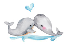 Set Cute Cartoon Whales; Water...