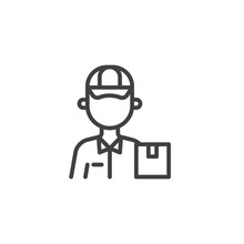 Delivery Man Worker Line Icon. Linear Style Sign For Mobile Concept And Web Design. Courier Delivery Box Outline Vector Icon. Symbol, Logo Illustration. Vector Graphics