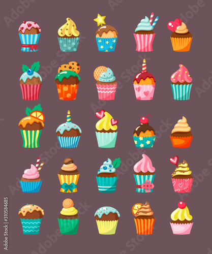 Muffins with topping in cartons flat vector illustration set Fototapeta