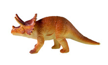 Triceratops Dinosaur Plastic Toy On White Background