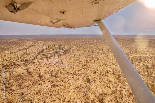 Shot from a small safari charter plane, showing a panoramic view of a Botswana landscape, including dry waterholes, during the annual dry season in southern Africa.