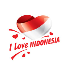 The National Flag Of The Indonesia And The Inscription I Love Indonesia. Vector Illustration
