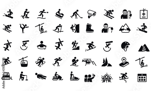 Cuadros en Lienzo Snow Skiing Icons vector design black and white