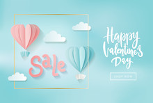 Valentine's Day Sale Web Banner Of Gentle Pink And Blue Heart Hot Air Balloons On Blue Sky Shine Background. Sale Text For Holiday Shop Discount Promo Design Template With Hand Lettering