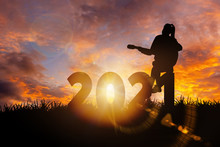 2021 New Year : Young  Woman Playing Guitar And Relaxing With Music On 2021 New Year,  Happy New Year Concept