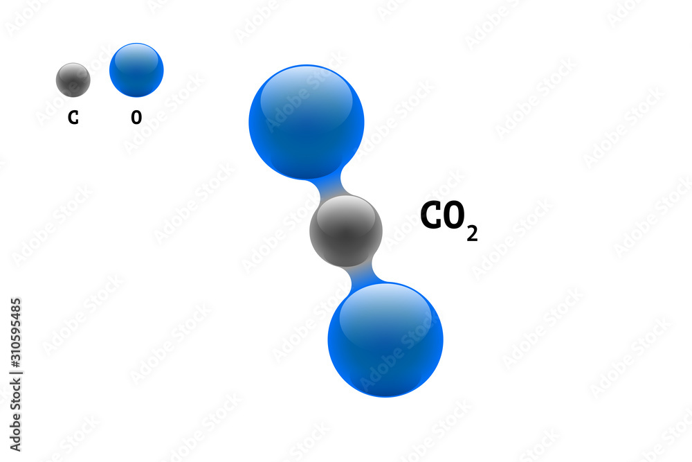 Fototapeta Chemistry model molecule carbon dioxide CO2 scientific element formula. Integrated particles natural inorganic 3d molecular structure consisting. Two oxygen and carbon volume atom eps vector spheres