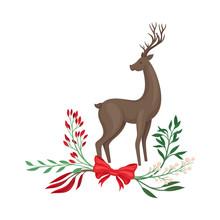 Standing Reindeer Vector Illus...