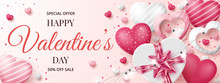 Valentine's Day Sale Banner Template With 3D Hearts, Shining Lights And Gift Box. Vector Illustration