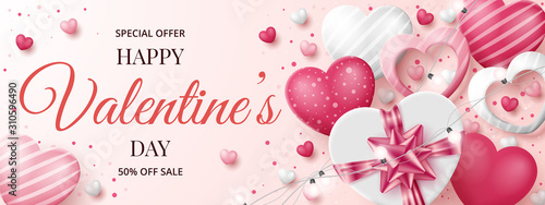 Photographie Valentine's day sale banner template with 3D hearts, shining lights and gift box