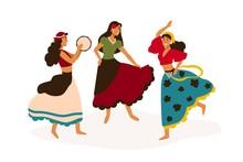 Gypsy Girls Dancing Flat Vecto...