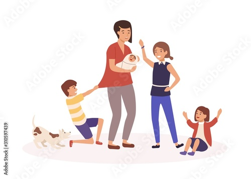 Photo Mother with many children flat vector illustration