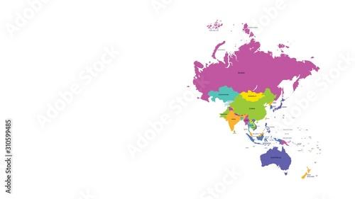 Obraz na plátně High detailed color world map, country animation