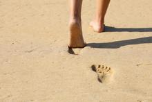 Beach Woman Legs Feet Walking ...