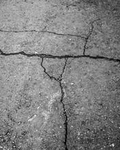 Cracked Grey Asphalt Road - Gr...