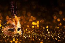 Luxury Venetian Mask On Dark Godlen Bokeh Background. New Year And Christmas Party Celebration Design Banner.