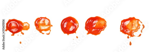 Fotomural Set ketchup splashes, stains isolated on white background, tomato pure texture