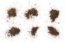 Set Dirt, Soil Pile Isolated On White Background With Clipping Path, Top View