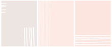 Set Of 3 Abstract Vector Layouts. White Hand Drawn Stripes Isolated On A Light Gray And Pastel Pink Backgrounds. Simple Geometric Print Ideal For Cover, Layouts. Modern Freehand Striped Vector Design.