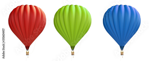 Photo hot air balloon red, blue, green on a white background 3D illustration, 3D rende