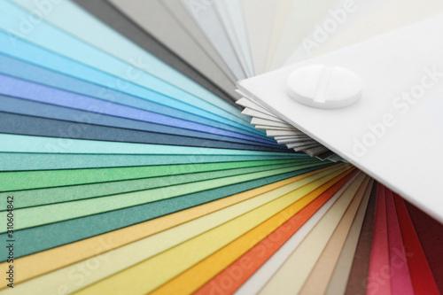 Fototapeta Color palette samples as background, closeup view obraz