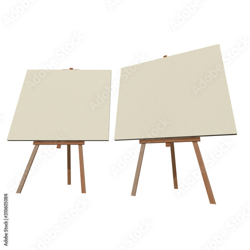 Blank wood easel with canvas Canvas Print
