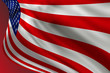 American flag of United States of America- waving flag, on a red background, illustrated