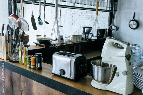Photo  Detail image of kitchen utensils background