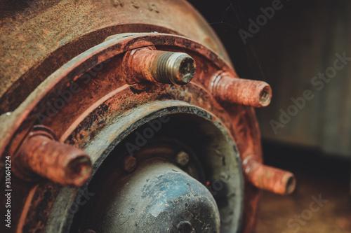 old rusty metal alloy wheel car vintage style. Canvas Print