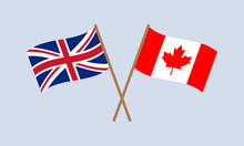 UK And Canada Crossed Flags On...