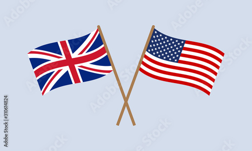 Fototapeta UK and US crossed flags on stick. American and British national symbol. Vector illustration. obraz