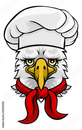 A friendly eagle chef mascot cartoon character
