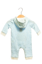 Light Blue Baby Clothes Bodysuit Back View In Clothes Hanger, Isolated On White Background.